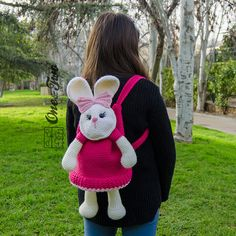 Olivia the Bunny Backpack PDF Crochet Pattern por oneandtwocompany