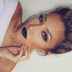 """Beautiful @auroramakeup who makes black lipstick look elegant.  Wearing ""Midnight"" liquid lipstick  #anastasiabeverlyhills #liquidlips"""