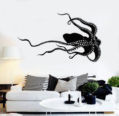 Vinyl Wall Decal Octopus Monster Sea Animals Poulpe Stickers (1019ig)