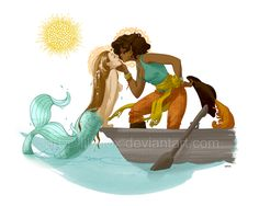 gingerhaole: Once upon a time, I drew a mermaid and a pirate queen in love. I love this!