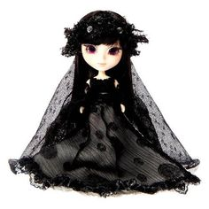 """Little Pullip+ Black Diamond doll, 4.5"""" - this is a mini Pullip so she doesn't have the usual eye mechanism - $26"""