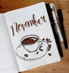Cold weather is coming so I need some hot beverages to keep me warm. The coffee theme is perfect! I'm so excited for this theme! It's like I drank too much coffee! Buzz buzz buzz! . #bulletjournal #bujo #bulletjournalcommunity #bujocommunity #bujoideas #bujocover #bujoaddict #planner #monthlytheme #novembertheme #november #hellonovember #coffee #warm #cozy