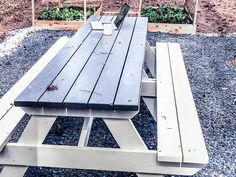 How to DIY Finish an Outdoor Picnic Table by MyOutdoorPlans - Building Our Rez Painting Outdoor Wood Furniture, Outdoor Furniture, Outdoor Decor, Outdoor Picnic Tables, Backyard, Patio, Exterior Paint, Beach House, Outdoor Living