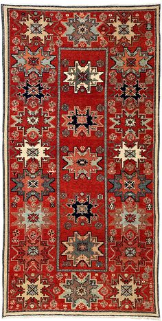 Caucasian, 4-6 x 9 by A Rug For All Reasons | Handknotted in Turkey, this Shirvan or Caucasian design rug, with its cheerful design and glowing colors, would light up any room. Its somewhat unusual size would lend itself to an entry, kitchen, space behind a couch. These rugs made by a wonderful Turkish rug manufacturer with the old village designs and with traditional spinning, dying, and weaving methods, are truly pieces of art for your home or office that you will always enjoy and…