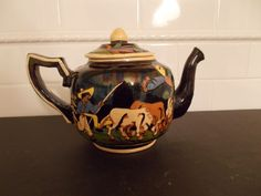 Vintage TLAQUEPAQUE Mexican Pottery Tea Pot Mexico Black Fine Condition WOW