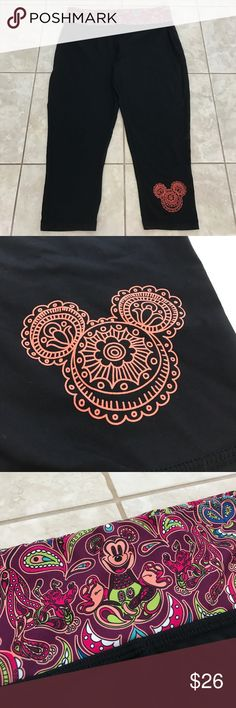 Disney parks leggings All black Disney park leggings. Orange Mickey Mouse head on bottom left leg & purple printed Mickey Mouse waistband. Disney Pants Leggings