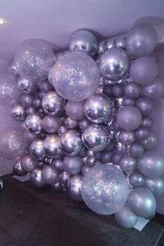 silver balloon wall backdrop