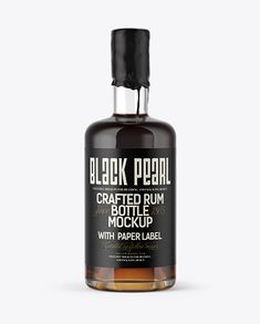 Black Rum Bottle with Wax Top Mockup (Preview)
