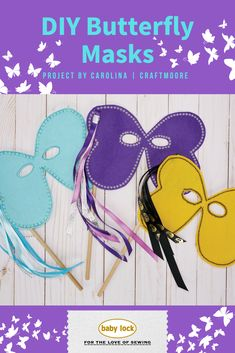 Need a super easy accessory to bring your last-minute handmade Halloween costume together? Make a decorative butterfly mask. 🦋 . Play with the decorative stitches on your machine to make a butterfly mask! A beginner-friendly project, these masks are simple to make in under an hour. A great project for teaching children how to sew. // Project by Carolina Moore   @craftmoore