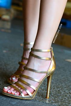 Metallic Triple Strap Single Sole Heels GOLD