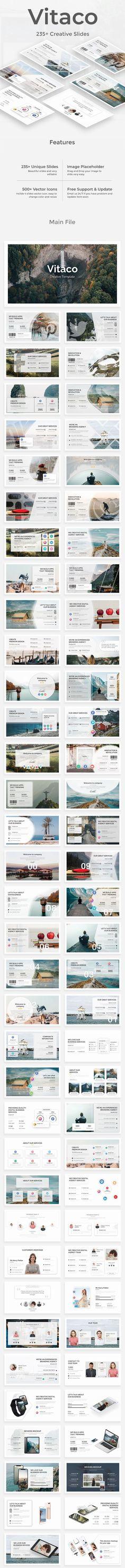 Vitaco Premium Google Slide Template. Google Slides template. #Google #Presentation #PresentationTemplate #slides #PitchDeck #StartupPitch #analysis #animated #brief #business Presentation Slides, Business Presentation, Presentation Templates, Slide Template, Creative Powerpoint Templates, Keynote Template, Pitch, Tenses Chart