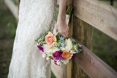 Colourful Bouquet White Peach Pink Purple Blue Roses Poppies Bride Bridal Flowers Lace Dress Country Farm Barn Wedding Ohio http://www.caseyclarkphotography.net/