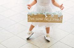 Wooden Here Comes the Bride sign
