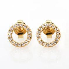 Gold Diamond Stud Earrings, Geometric Gold Diamond Circle Halo Stud Earrings, Fine Art Deco Jewelry