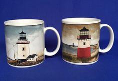By The Sea Lighthouse Mugs David Carter Brown Collection Sailboats Sakura Oneida #SakuraOneida