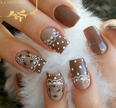 pokadot design Nail Art Diy, Cool Nail Art, Diy Nails, Fall Nail Colors, Nail Polish Colors, Uñas Color Cafe, Nancy Nails, Glitter French Manicure, Fingernail Designs