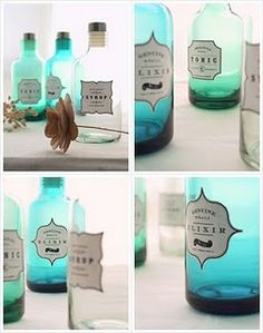 Vintage Apothecary Bottles - DIY Free Labels >> Might be great on a desk?