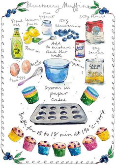 Blueberry and Lemon Muffin Recipe Art Print from Original Ink and Watercolour Illustration