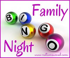 Family Bingo Night...ideas and resources for a super fun and frugal family night! famili fun, famili bingo, frugal famili, famili night