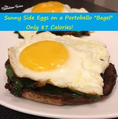 """Sunny Side Eggs on a Portobello """"Bagel"""" 