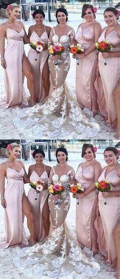 simple blush bridesmaid dresses for beach wedding party , sexy spaghetti straps long bridesmaid dress with split Pink Bridesmaid Dresses Long, Beach Bridesmaid Dresses, New Wedding Dresses, Wedding Themes, Ball Dresses, Prom Dresses, Spaghetti Straps, Trendy Wedding, Wedding Beach