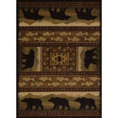 United Weavers Affinity Area Rugs - 750-01943 Southwestern Lodge Lodge Bears Fish Diamonds Rug, Brown