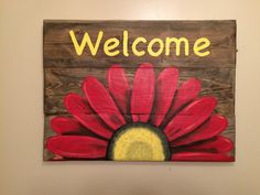 Reclaimed Wood Welcome Sign with Daisy. Pallet by HippieHoundUSA