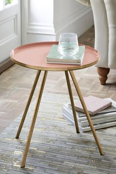 Buy Nina Pink Side Table from the Next UK online shop Painted Side Tables, Metal Side Table, Square Side Table, Round Side Table, Dressing Table Mirror, Dressing Room, Pipe Decor, Home Remodel Costs, Ottoman Bed