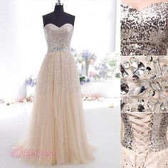 New Women Champagne Sequins Tulle Long Party Evening Gowns Prom Cocktail Dresses in Clothing, Shoes & Accessories, Clothing, Shoes & Accessories | eBay