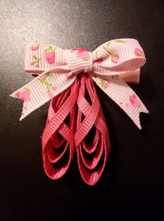 Handmade Pair Ballet Slippers Hair Clips by ThisNThatCraftsByJo on Etsy