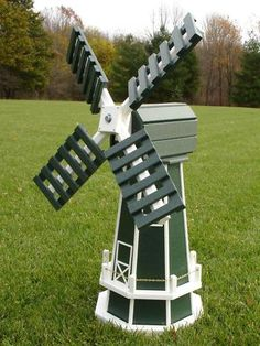 "46 ""Poly Dutch Windmill (green with WhiteTrim) - Homemade Garden Windmill Yard Windmill, Wooden Windmill, Dutch Windmill, Wood Projects, Woodworking Projects, Craft Projects, Wooden Planters, Wooden Garden, Homemade Windmill"