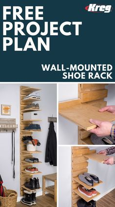 "FREE Project Plan: Wall-Mounted Shoe Rack | This shoe organizer is compact enough to fit into a closet, simple enough for a beginning DIYer, yet stylish enough to create attractive shoe storage in your entryway or mudroom. Each shoe shelf is adjustable to suit changing needs, and the entire project is made from a single sheet of 3/4"" plywood. #buildsomethingwithkreg #kregjigproject #shoerack #shoestorage #closetgoals #shoes #diyproject #woodworking #woodworkingplans #woodworkingprojects"