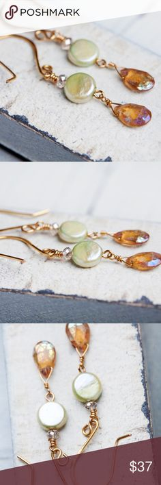 Hessonite Drops Peridot Pearl Earrings HANDMADE Stunning AB Hessonite drops adorned with Peridot pearls & sparkly crystals give this pair a special radiance. Handmade Gold French ear wires add to the allure. They are magic!  Marigold Earrings Length measures 1.97 inches (50mm)  Handmade by me! From Bees and Buttercups on etsy. This one of a kind item is not listed anywhere else ! Bees and Buttercups Jewelry Earrings