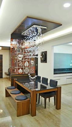 39 Latest Interior Furniture Design For Living Room Dining Room Ceiling Design, Dinning Table Design, Luxury Dining Tables, Room Partition Designs, Indian Home Decor, Apartment Interior, Bathroom Interior, Modern Bathroom, Bathroom Ideas
