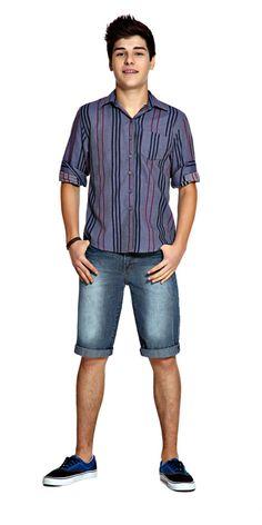 M2A Jeans   Spring Summer 2014   Teen Boy Lookbook   Pimavera Verão 2014 • bermuda; jeans; camisa; listras.