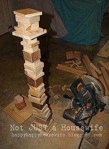Scrap Wood Lamp - idea for tiered storage shelf