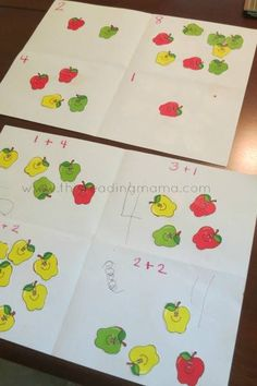 """This is such a SIMPLE, yet effective math activity for younger kids. My 3 and 4 year old ""played"" today with our apple theme.  I took a piece of paper and folded it so it had four sections.  For my 3 year old, I wrote numbers and she glued down her apples {stickers work as well}. I wrote simple addition sentences for my 4 year old. He glued down his apples, then wrote his "" ~This Reading Mama"