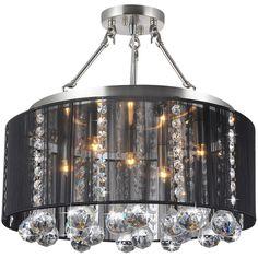 Crystal 5-light Black Shade and Satin Nickel Semi-ceiling Lamp