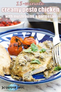 You only need 7 ingredients to make this 15-minute creamy pesto chicken with mushrooms and parmesan. Pan fry, then make a tasty creamy sauce. The best part? Dinner's on the table in just 15 minutes! #chicken #pesto #panfriedchicken #castironpan #creamychicken #chickenbreasts #pestochicken #scrummylane #15minutemeals