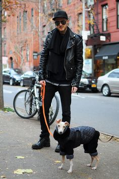 Even the Italian Greyhound wears his (her?) fetishwear!  the-streetstyle:  Gray Burtonvia koo