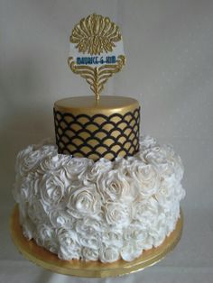 Art deco with rose ruffles created by MJ www.mjscakes.co.nz in sunny Hawkes Bay NZ delivered to the Napier War Memorial Conference Centre Mj, Conference, Ruffles, Centre, Wedding Cakes, Art Deco, Rose, Desserts, Tailgate Desserts