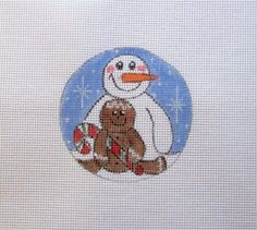 Gingerbread & Snowman Buddies Christmas Ornament Handpainted Needlepoint Canvas