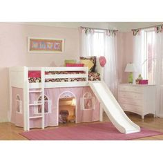 Bolton Furniture Cottage Twin Low Loft Bed with Lower Playhouse Curtain and Slide, Multicolor