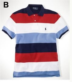 Ralph Lauren Men Multicolor Striped Polo Shirt Navy Red White Lightblue