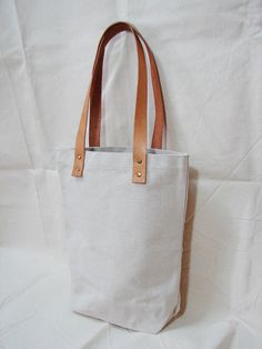 Leathinity - lienzo Original / negro bolso w / manijas de cuero genuino - Eco amigable