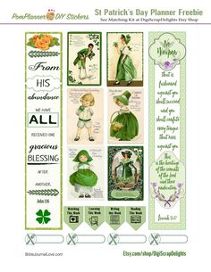 Free March Printable Planner Stickers. St Patrick's Day Vintage Cards & 2 Bible Journaling Margin Strips! #pomplanner #freeprintable #freebie #plannerlove #biblejournaling