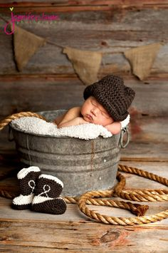 Brown Cowboy Hat and Western Boots  Newborn thru 12 month size available, Excellent Photo Prop. $45.00, via Etsy.