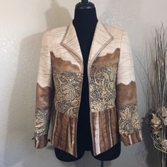 Gorgeous Jacket Gorgeous earth tones in the superb quality of Coldwater Creek. This jacket does not disappoint. Pair with slacks or skirt for a classy casual look. The fabric of this jacket is just amazing- almost like a fine suede feel. Gently pre loved condition. Coldwater Creek Jackets & Coats