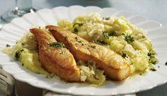 Choucroute au saumon légère WW, recette d'un bon plat savoureux et gourmand, très facile à préparer et idéal pour un repas léger et complet.