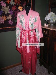 e9ab32e751 Vtg 1940s~50s Japanese Silk Kimono~geisha~robe Reversable~pink~green